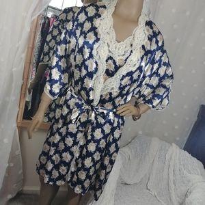 Vintage 2pc satin lace trim robe & matching slip